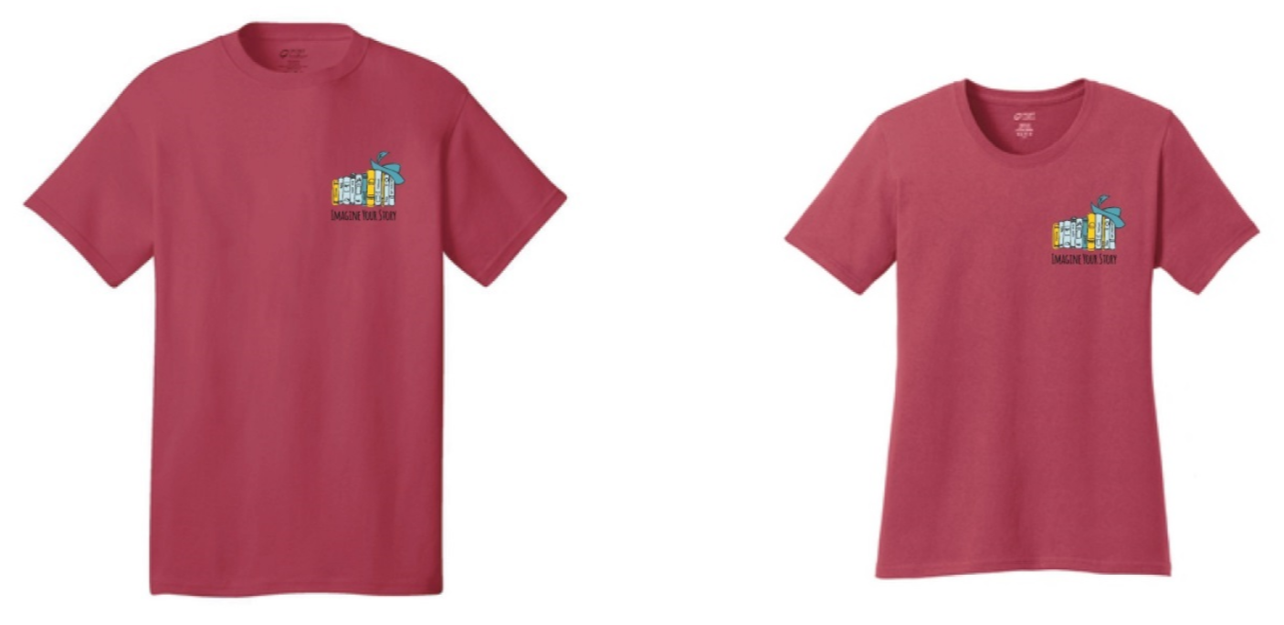 T-shirt with the adult summer reading program artwork: a row of books with a feathered cap on the end