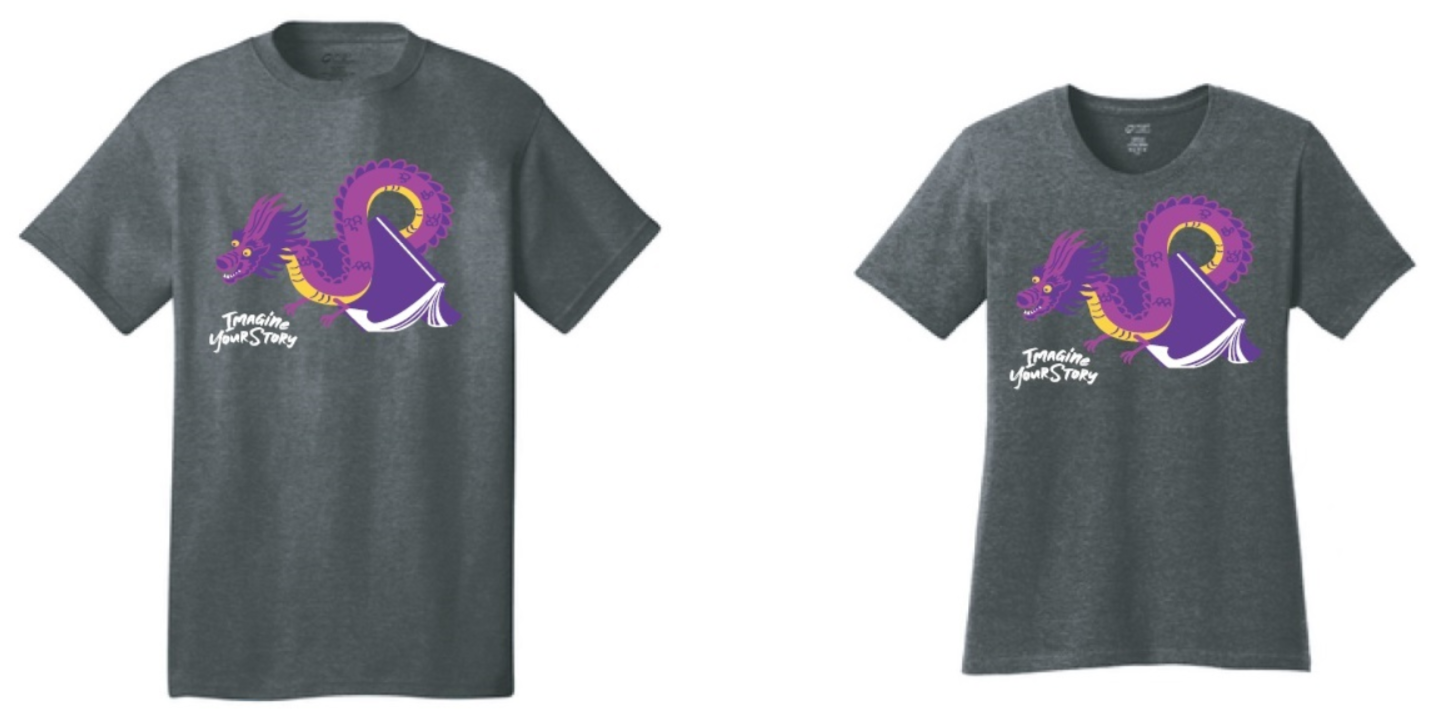 T-shirt with the teen summer reading program artwork: a purple dragon over a purple book